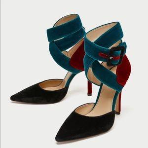 Multi colored velvet strappy heels